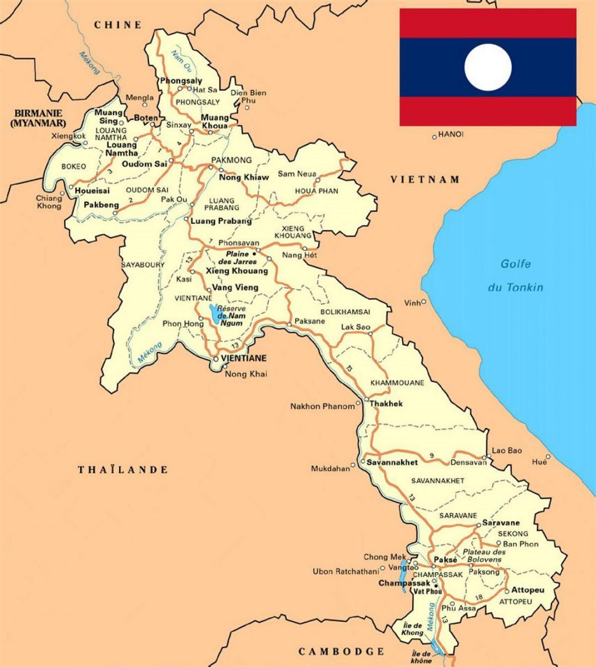 Laos Karta Podrobna Karta Na Laos Yugo Iztochna Aziya Aziya